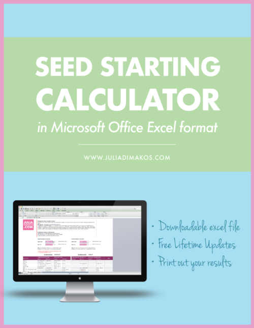 Seed Starting Calculator in Excel Format